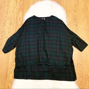 BDG Plaid Oversized Drop Sleeve Pullover Top Small